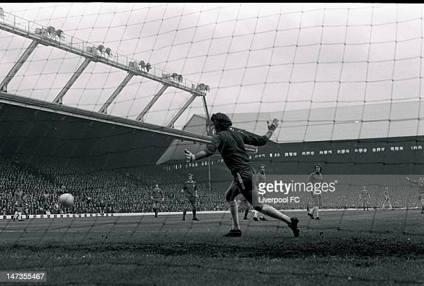 Chelsea's Peter Bonetti watches a shot go wide from Ian Callaghan of Liverpool during the Football League Division One match between Liverpool and...