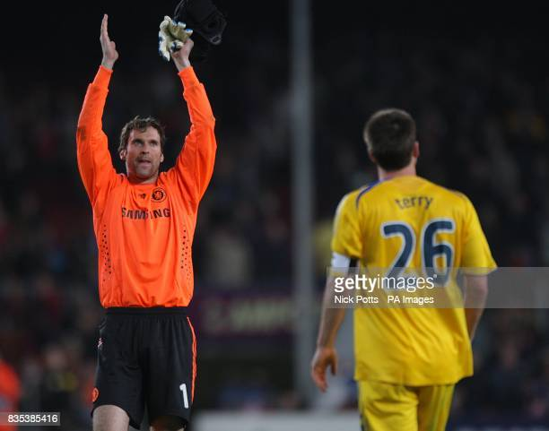 Chelsea's Petr Cech applauds the fans after the final whistle
