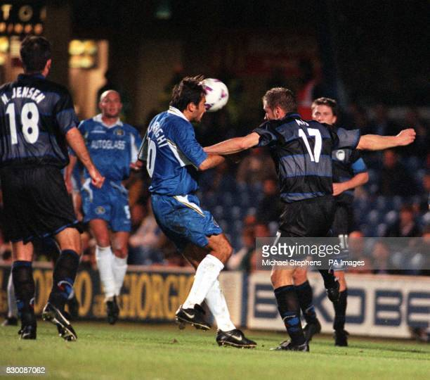FEATURE Chelsea's Pierluigi Casiraghi beats FC Copenhagen's Michael Mio Nielsen in the air during their clash at Stamford Bridge this evening in the...