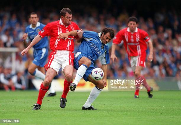 FEATURE Chelsea's Pierluigi Casiraghi holds the ball from Middlesbrough's Gary Pallister during the Premiership match at Stamford Bridge today...