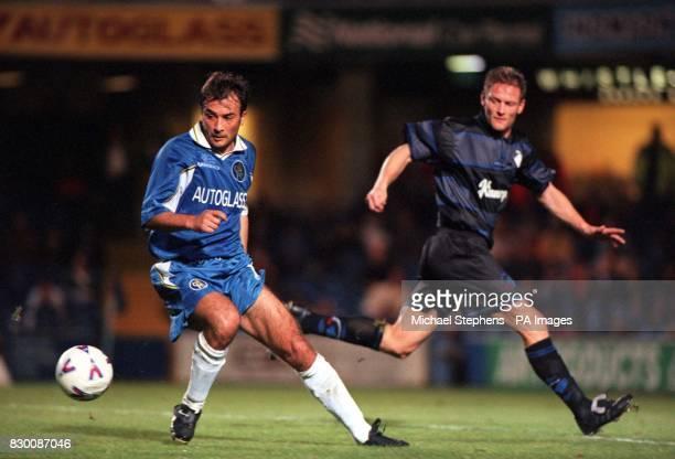 FEATURE Chelsea's Pierluigi Casiraghi passes FC Copenhagen's Michael Mio Nielsen during their clash at Stamford Bridge this evening in the second...