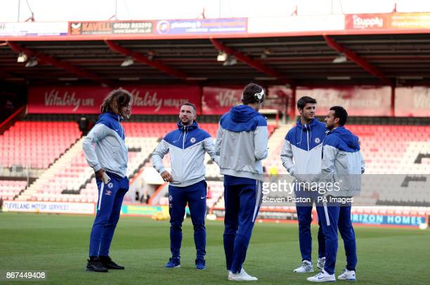 Chelsea's players including Ethan Ampadu Danny Drinkwater Alvaro Morata and Pedro check out the pitch before the Premier League match at the Vitality...