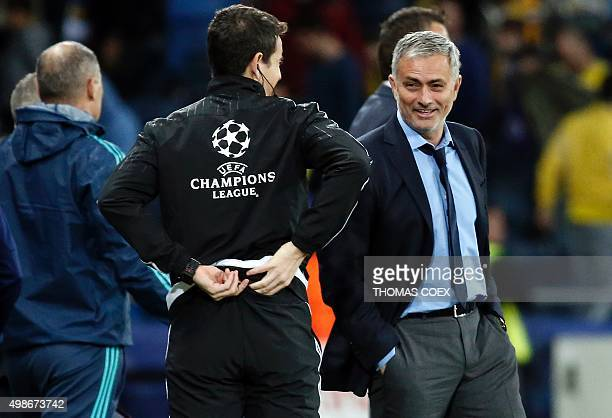 Chelsea's Portuguese Head Coach Jose Mourinho smiles at the end of the UEFA champions league match between Maccabi Tel Aviv and Chelsea at the Sammy...