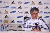 Chelsea's Portuguese manager Jose Mourinho attends a press conference at the Chelsea training ground in Cobham Surrey on April 25 2014 Chelsea boss...