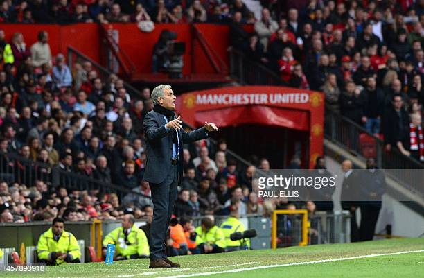 Chelsea's Portuguese manager Jose Mourinho gestures during the English Premier League football match between Manchester United and Chelsea at Old...