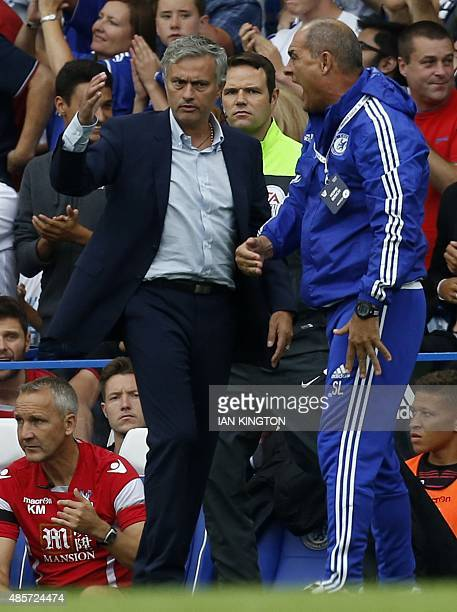 Chelsea's Portuguese manager Jose Mourinho gestures during the English Premier League football match between Chelsea and Crystal Palace at Stamford...