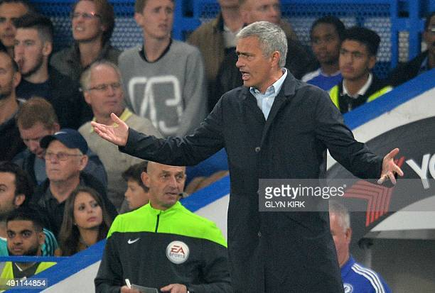 Chelsea's Portuguese manager Jose Mourinho gestures during the English Premier League football match between Chelsea and Southampton at Stamford...