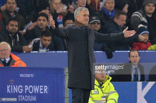 Chelsea's Portuguese manager Jose Mourinho gestures during the English Premier League football match between Leicester City and Chelsea at the King...