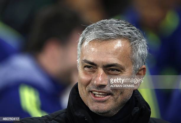 Chelsea's Portuguese manager Jose Mourinho is pictured before the start of the UEFA Champions League group G football match at Stamford Bridge in...