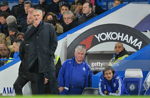 Chelsea's Portuguese manager Jose Mourinho reacts after losing the English Premier League football match between Chelsea and Bournemouth at Stamford...