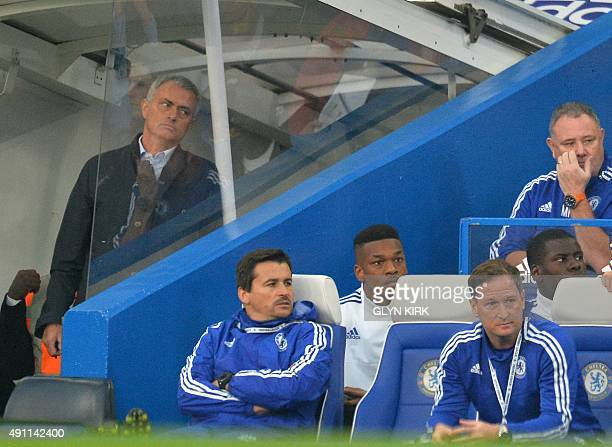 Chelsea's Portuguese manager Jose Mourinho reacts during the English Premier League football match between Chelsea and Southampton at Stamford Bridge...