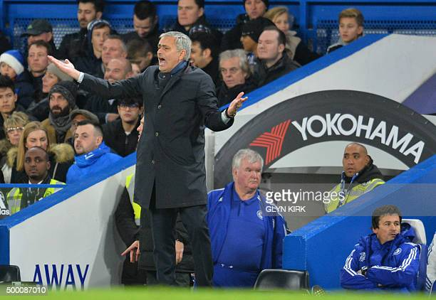 Chelsea's Portuguese manager Jose Mourinho reacts during the English Premier League football match between Chelsea and Bournemouth at Stamford Bridge...