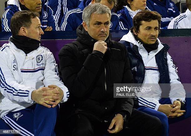Chelsea's Portuguese manager Jose Mourinho takes his seat for the English Premier League football match between West Bromwich Albion and Chelsea at...