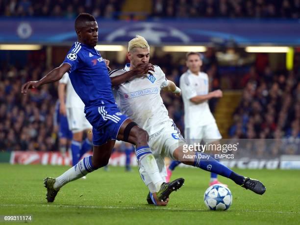 Chelsea's Ramires and Dynamo Kiev's Aleksandar Dragovic battle for the ball