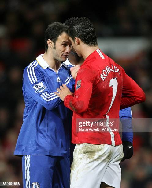 Chelsea's Ricardo Carvalho and Manchester United's Cristiano Ronaldo square up to one another during the game