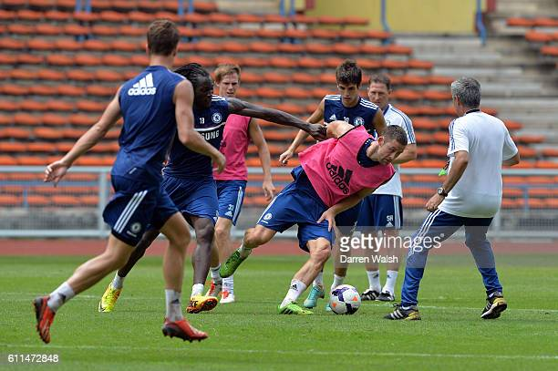 Chelsea's Romelu Lukaku Gary Cahill Lucas Piazon Jose Mourinho during a training session at the Stadium Shah Alam on July 19th 2013 in Kuala Lumpur...
