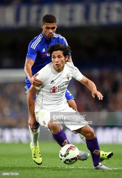 Chelsea's Ruben LoftusCheek and Fiorentina's Matias Fernandez battle for the ball