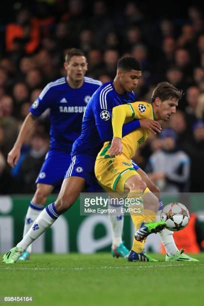 Chelsea's Ruben LoftusCheek and Sporting Lisbon's Adrien Silva battle for the ball