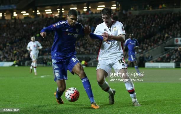 Chelsea's Ruben LoftusCheek battles for possession of the ball with Milton Keynes Dons' Joe Walsh