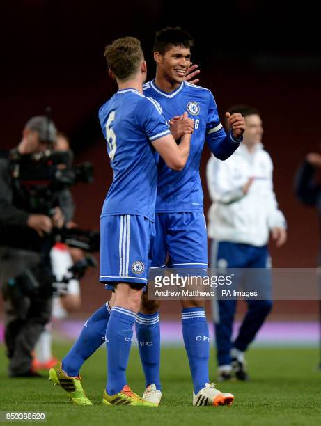 Chelsea's Ruben LoftusCheek celebrates with team mate Jordan Houghton after the FA Youth Cup Semi Final match at the Emirates Stadium London