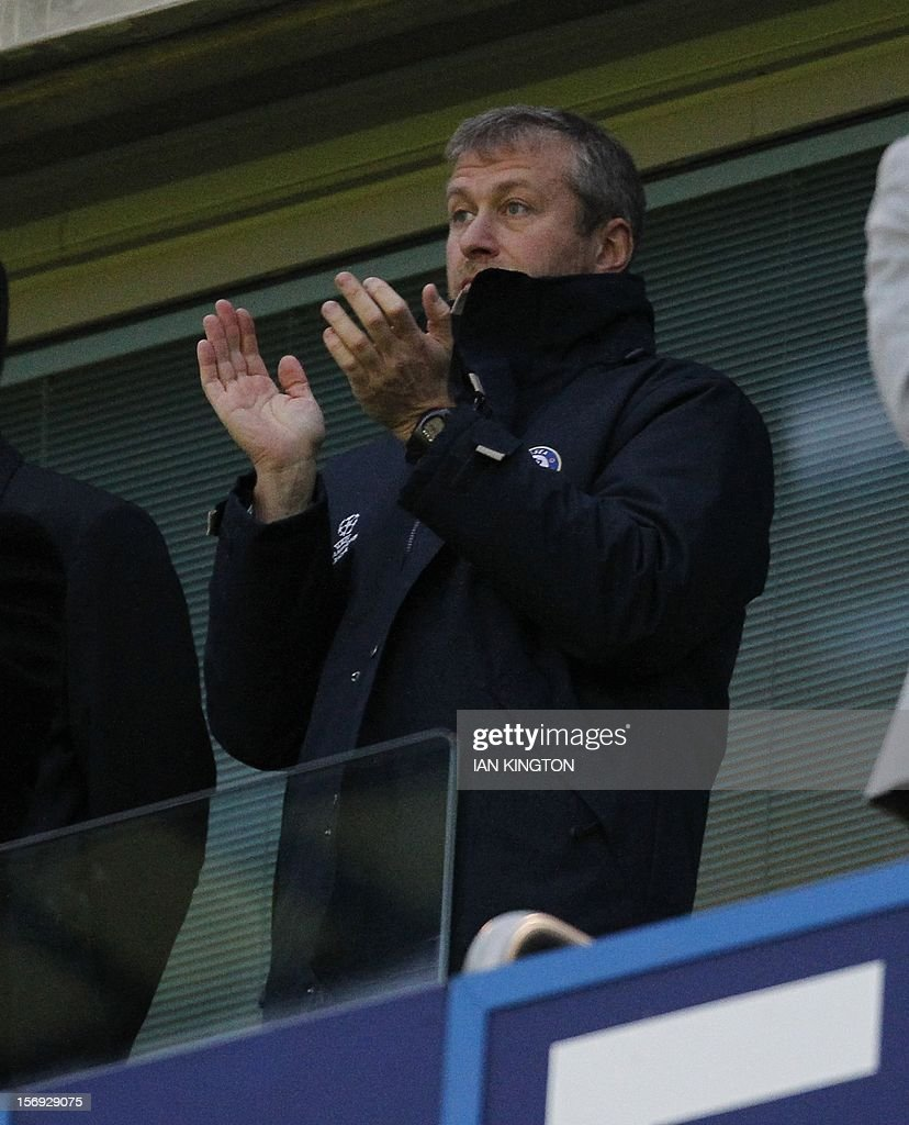 "Chelsea's Russian owner Roman Abramovich awaits kick off during an English Premier League football match between Chelsea and Manchester City at Stamford Bridge stadium in London on November 25, 2012. USE. No use with unauthorized audio, video, data, fixture lists, club/league logos or ""live"" services. Online in-match use limited to 45 images, no video emulation. No use in betting, games or single club/league/player publications."