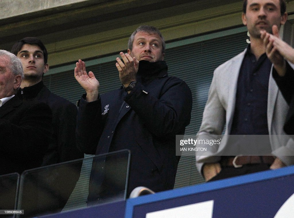 Chelsea's Russian owner Roman Abramovich awaits kick off during the English Premier League football match between Chelsea and Manchester City at Stamford Bridge in London on November 25, 2012. Chelsea fans have not universally welcomed Benitez's appointment as Roberto Di Matteo's interim successor, after the frequent spats that accompanied clashes between Benitez's Liverpool and Jose Mourinho's Chelsea. USE. No use with unauthorised audio, video, data, fixture lists, club/league logos or 'live' services. Online in-match use limited to 45 images, no video emulation. No use in betting, games or single club/league/player publications.