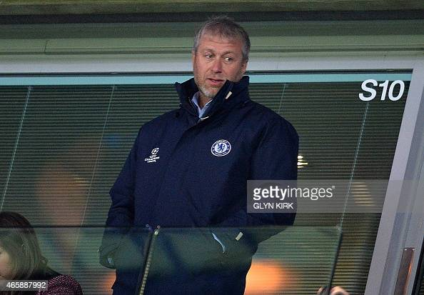 Chelsea's Russian owner Roman Abramovich is pictured during the UEFA Champions League round of 16 second leg football match between Chelsea and Paris...