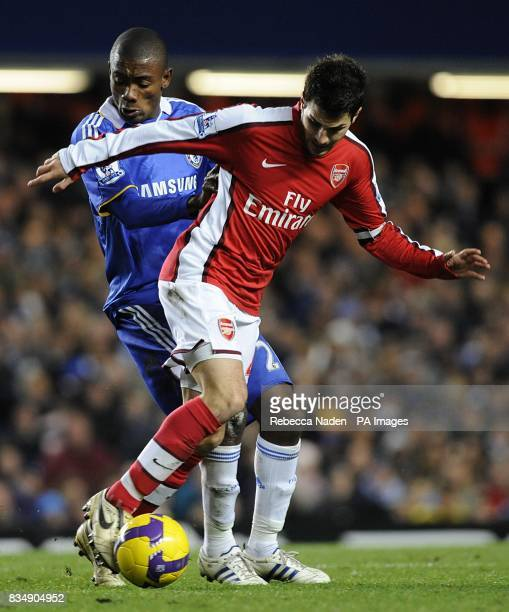 Chelsea's Salomon Kalou and Arsenal's Francesc Fabregas battle for the ball