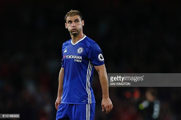 Chelsea's Serbian defender Branislav Ivanovic reacts at the end of the English Premier League football match between Arsenal and Chelsea at The...