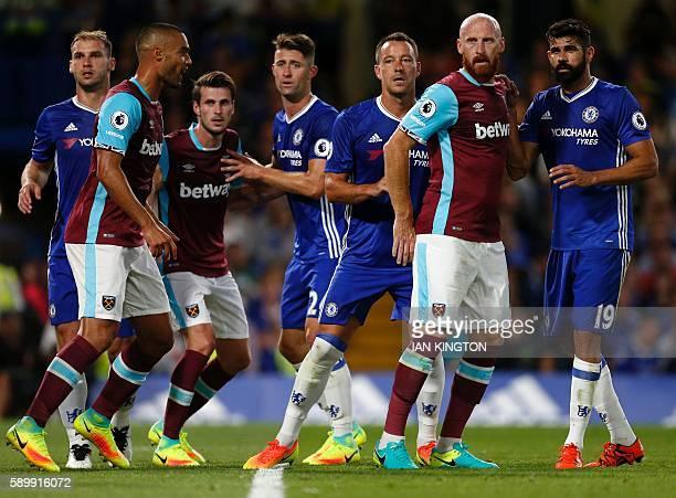 Chelsea's Serbian defender Branislav Ivanovic West Ham United's New Zealand defender Winston Reid West Ham United's Norwegian midfielder Havard...