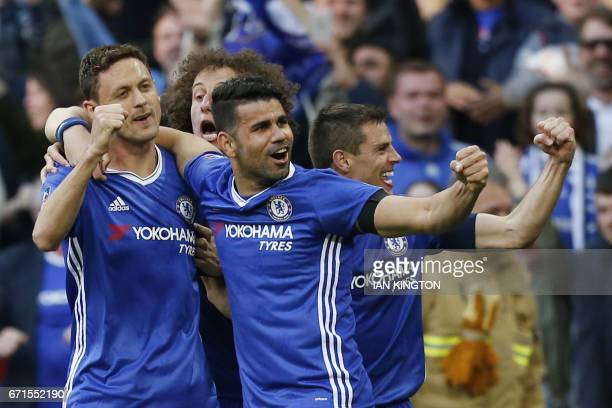 Chelsea's Serbian midfielder Nemanja Matic celebrates with Chelsea's Brazilianborn Spanish striker Diego Costa Chelsea's Brazilian defender David...