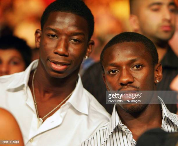 Chelsea's Shaun Wright Phillips with his brother Bradley watches England's Ricky Hatton defeat Mexico's Jose Luis Castillo after a fourth round...