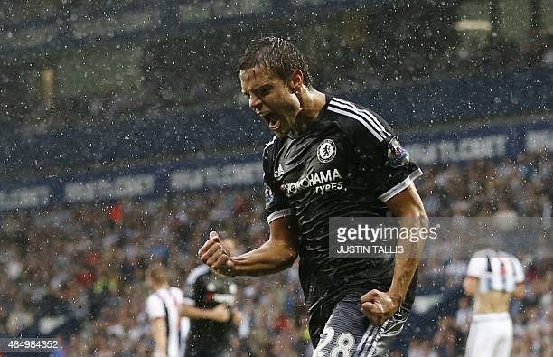 Chelsea's Spanish defender Cesar Azpilicueta celebrates after scoring their third goal during the English Premier League football match between West...