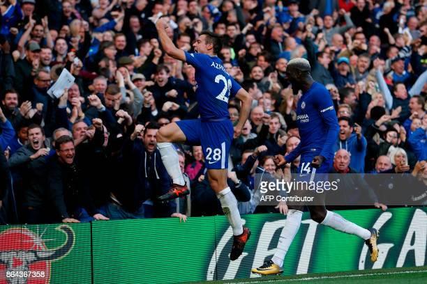 Chelsea's Spanish defender Cesar Azpilicueta celebrates scoring his team's third goal during the English Premier League football match between...