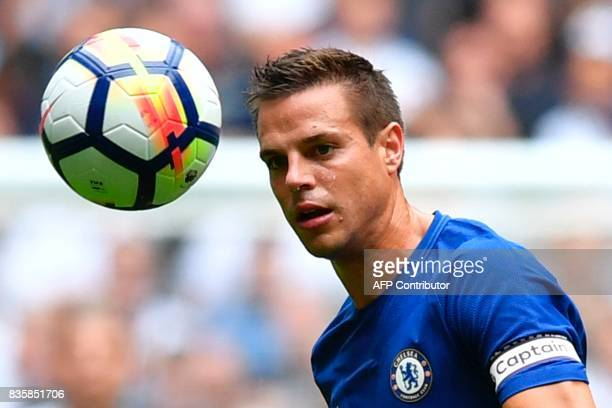 Chelsea's Spanish defender Cesar Azpilicueta eyes the ball during the English Premier League football match between Tottenham Hotspur and Chelsea at...
