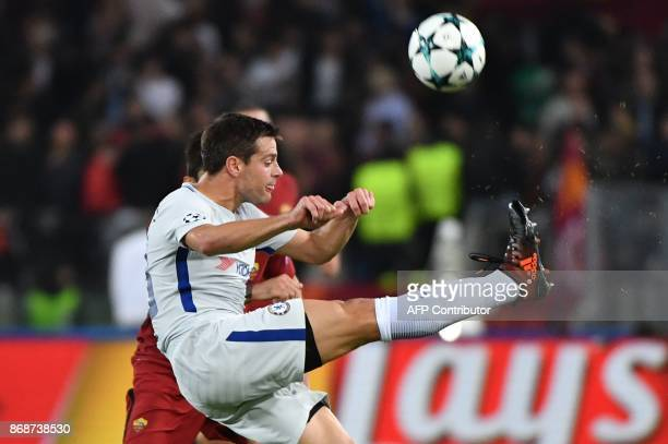 Chelsea's Spanish defender Cesar Azpilicueta kicks the ball during the UEFA Champions League football match AS Roma vs Chelsea on October 31 2017 at...