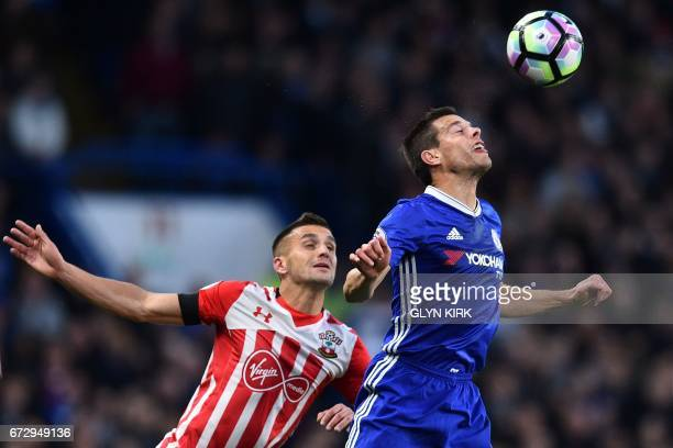 Chelsea's Spanish defender Cesar Azpilicueta vies with Southampton's Serbian midfielder Dusan Tadic during the English Premier League football match...