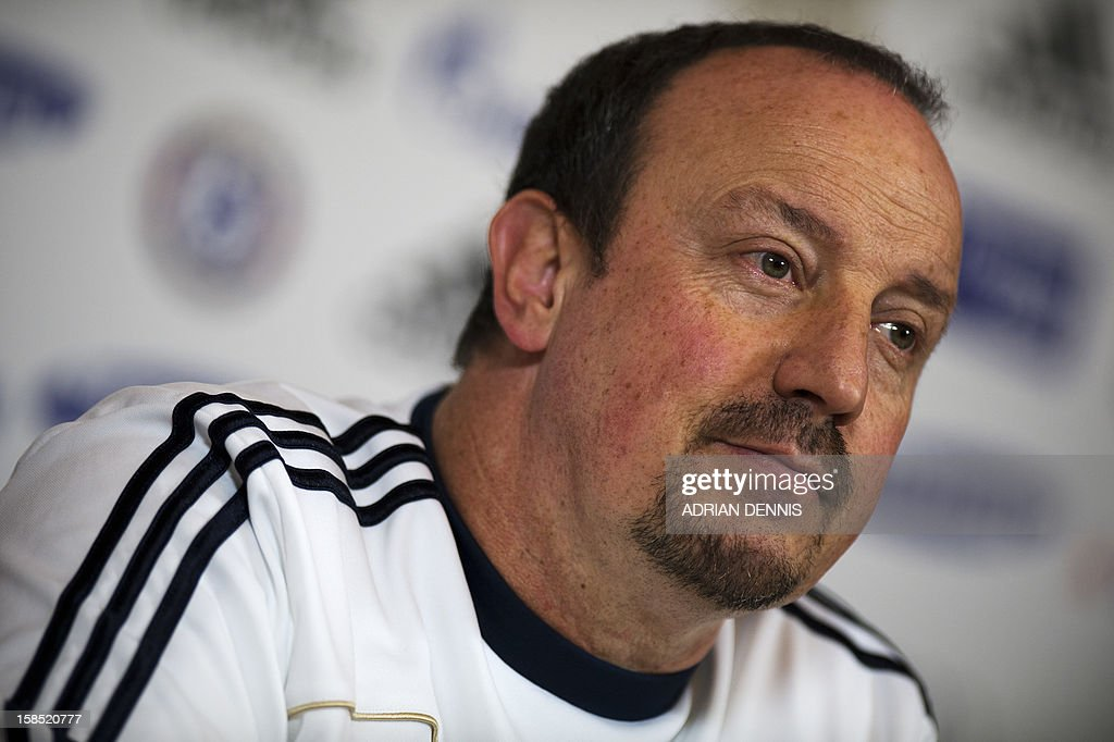 Chelsea's Spanish interim manager Rafael Benitez listens to a question during a press conference at the club's complex near Cobham in Surrey, south of London on December 18, 2012 on the eve of their English League Cup match against Leeds United. Chelsea's foreign legion were warned not to underestimate Leeds as the old enemies prepare to renew their long and bitter rivalry in the League Cup quarter-finals.