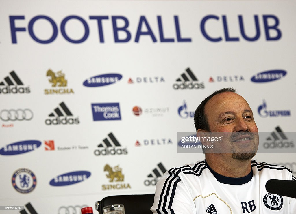 Chelsea's Spanish interim manager Rafael Benitez listens to a question during a press conference at the club's complex near Cobham in Surrey, south of London on December 18, 2012 on the eve of their English League Cup match against Leeds United. Chelsea's foreign legion were warned not to underestimate Leeds as the old enemies prepare to renew their long and bitter rivalry in the League Cup quarter-finals. AFP PHOTO / ADRIAN DENNIS