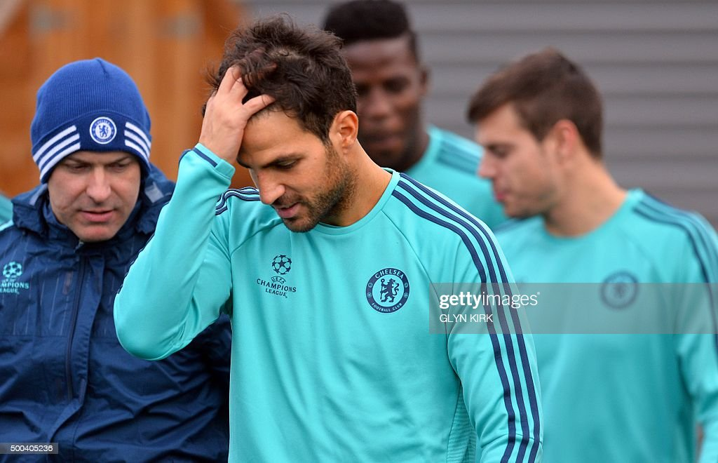 Chelsea's Spanish midfielder Cesc Fabregas attends a training session on the eve of a UEFA Champions League group G football match against Porto at...