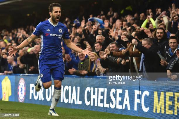 Chelsea's Spanish midfielder Cesc Fabregas celebrates scoring the opening goal during the English Premier League football match between Chelsea and...
