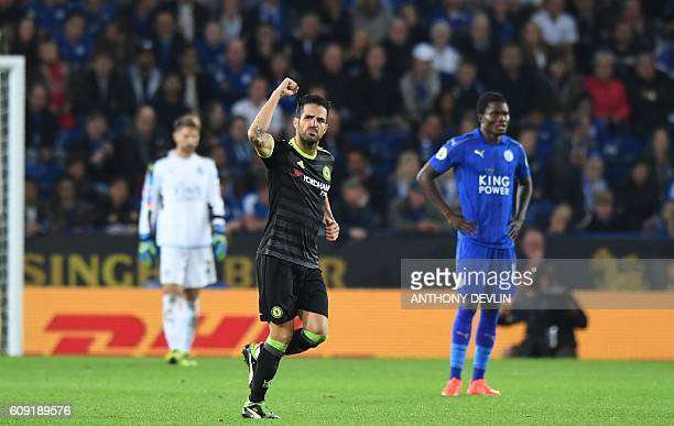 Chelsea's Spanish midfielder Cesc Fabregas celebrates scoring their third goal during extratime in the English League Cup third round football match...