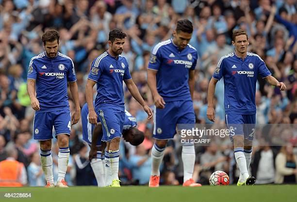 Chelsea's Spanish midfielder Cesc Fabregas Chelsea's Brazilianborn Spanish striker Diego Costa Chelsea's Colombian striker Radamel Falcao and...