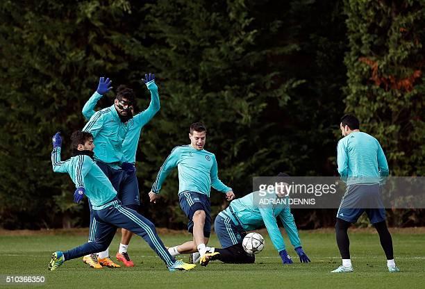 Chelsea's Spanish midfielder Cesc Fabregas Chelsea's Brazilianborn Spanish striker Diego Costa Chelsea's Spanish defender Cesar Azpilicueta Chelsea's...