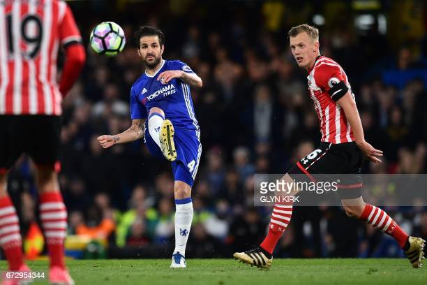 Chelsea's Spanish midfielder Cesc Fabregas passes the ball during the English Premier League football match between Chelsea and Southampton at...
