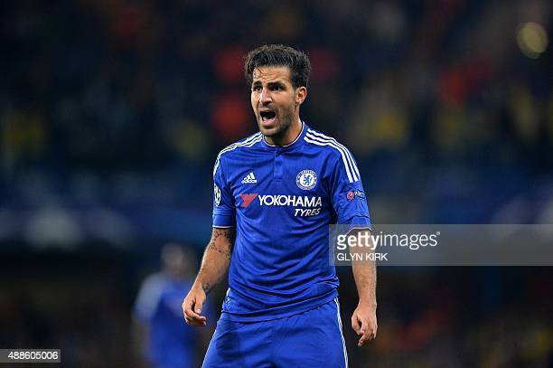 Chelsea's Spanish midfielder Cesc Fabregas shouts during the UEFA Champions League group G football match between Chelsea and Maccabi Tel Aviv at...