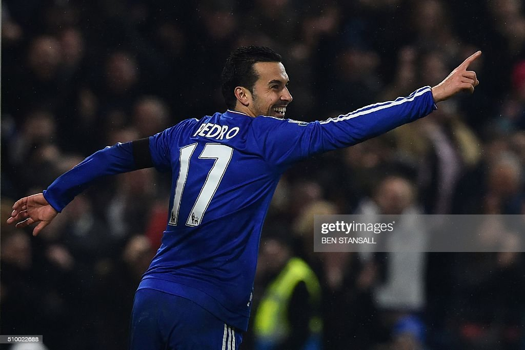 Chelsea's Spanish midfielder Pedro celebrates scoring his second and their fourth goal during the English Premier League football match between Chelsea and Newcastle United at Stamford Bridge in London on February 13, 2016. / AFP / BEN STANSALL