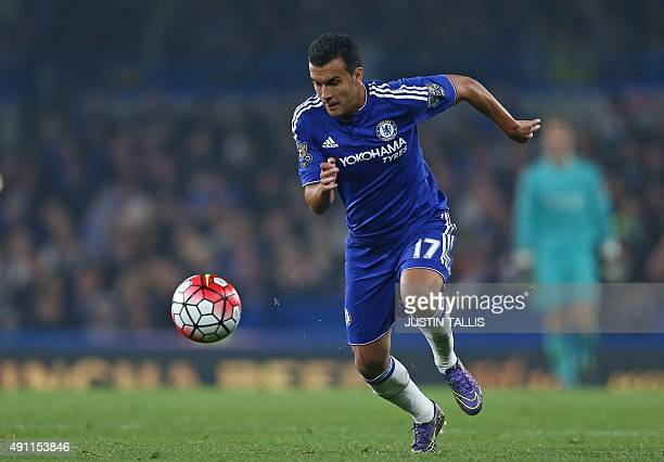 Chelsea's Spanish midfielder Pedro runs with the ball during the English Premier League football match between Chelsea and Southampton at Stamford...