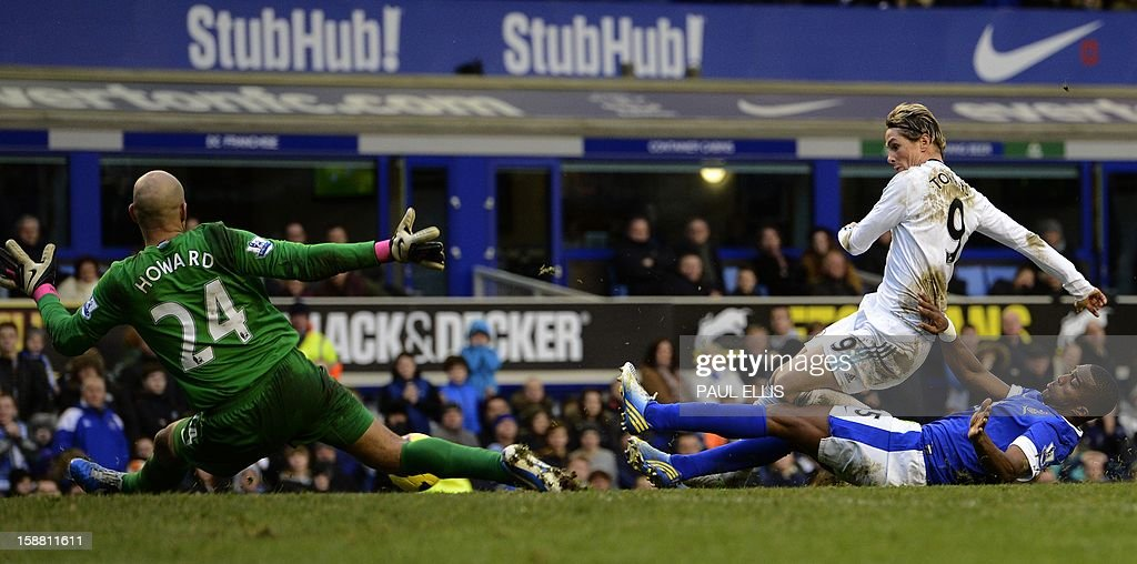 """Chelsea's Spanish player Fernando Torres (2-R) has a shot blocked by Everton's French player Sylvain Distin during the English Premier League football match between Everton and Chelsea at Goodison Park in Liverpool, England on December 30, 2012. AFP PHOTO/Paul Ellis - RESTRICTED TO EDITORIAL USE. No use with unauthorized audio, video, data, fixture lists, club/league logos or """"live"""" services. Online in-match use limited to 45 images, no video emulation. No use in betting, games or single club/league/player publications."""
