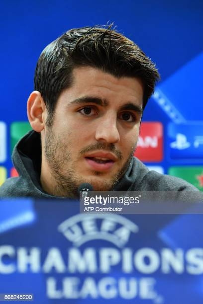 Chelsea's Spanish striker Alvaro Morata attends a press conference on the eve of the UEFA Champions League football match AS Roma vs Chelsea on...